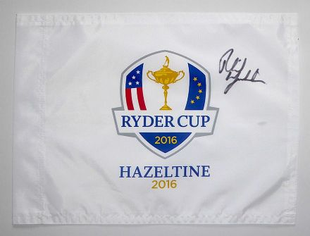 Phil Mickelson signed Ryder Cup 2016 Hazeltine pin flag.